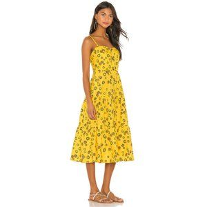 Revolve Dress Button-Up Tiered Yellow Daisy S NWT